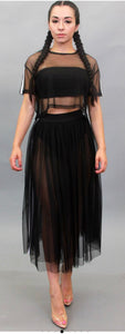 Black Mesh/Tulle  Skirt Set