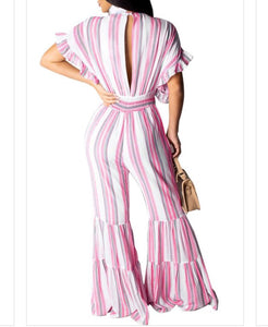 Pink & White Stripe Bell Bottom Jumpsuit