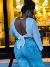 White Wrap Shirt with Tie & Open Back