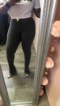 Grey Slit Ankle Leggings