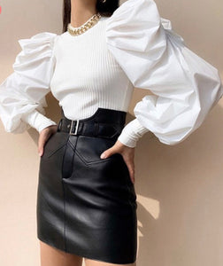 White Bubble Ruffle Sleeve Top