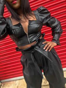 Harley  Faux Leather Top