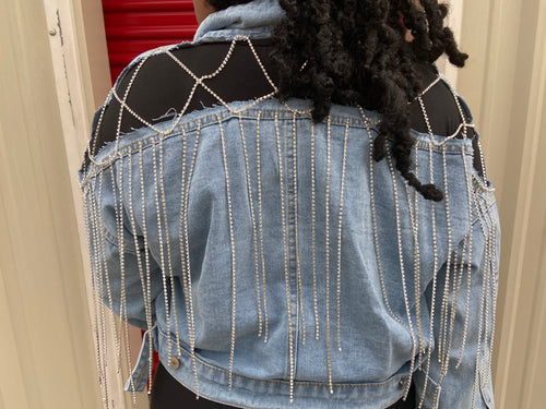 Hollow Out Sequin Denim Jacket