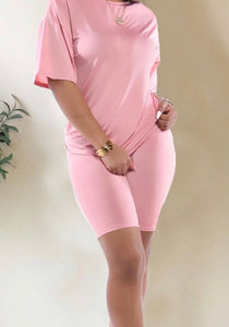 Pink Not Basic, but Pretty Biker Short Set (Curvy Plus)