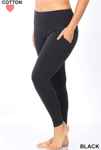 Black Yogi Leggings with Pockets (Curvy/Plus)