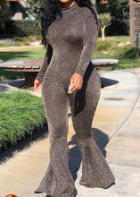 Black & Sequined Flared Jumpsuit