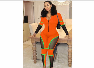 Orange Mesh Me Jumpsuit