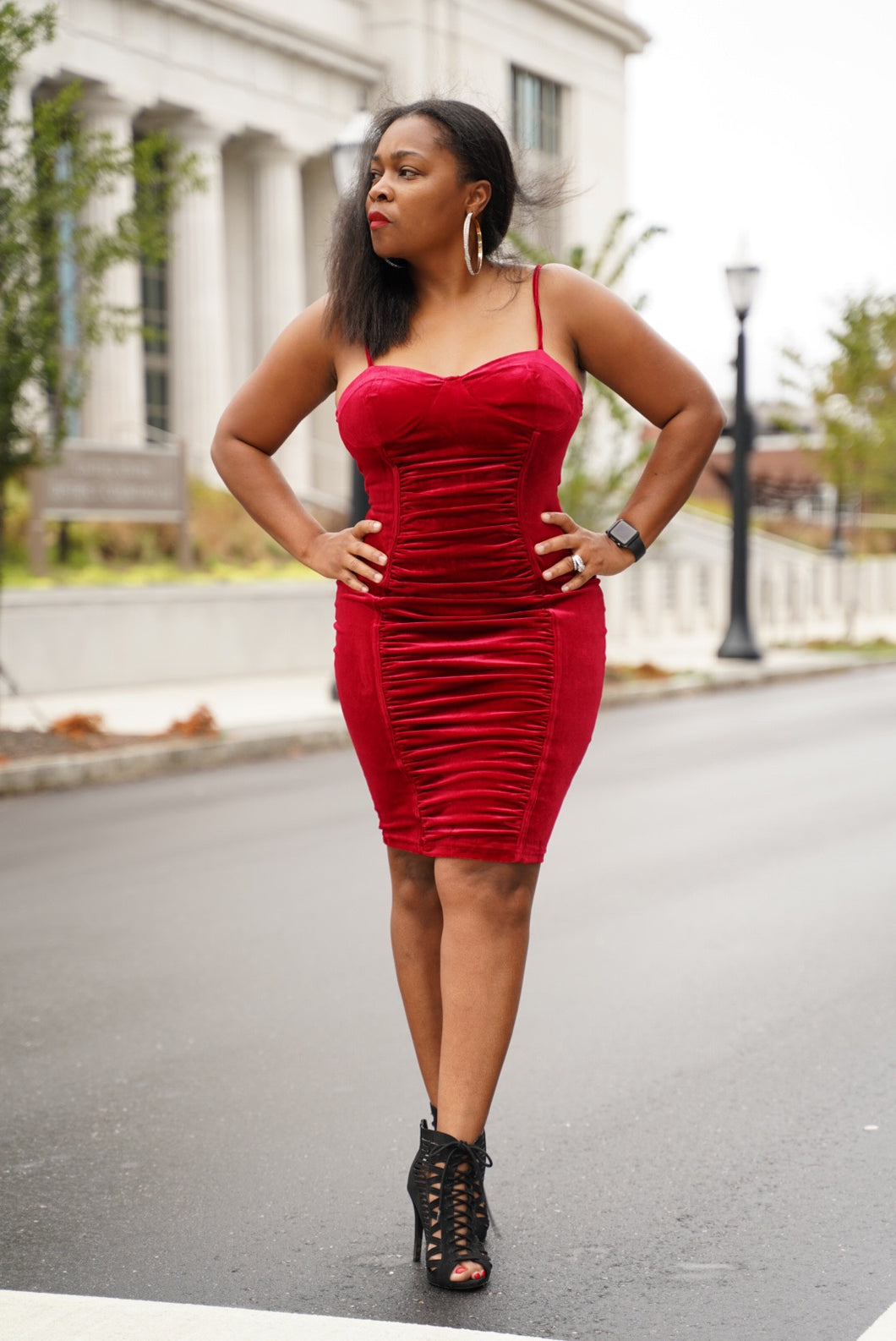 Red Velvet Ruched Bustier Dress