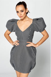 Striped Bell Sleeve Mini Dress