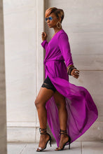 Purple , Long Sheer Cardigan
