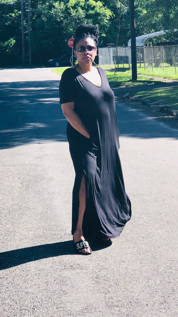 Black V-Neck Maxi Dress with Pockets