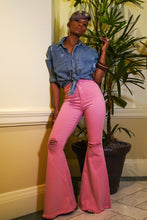Blush  Color Flare Leg Denim