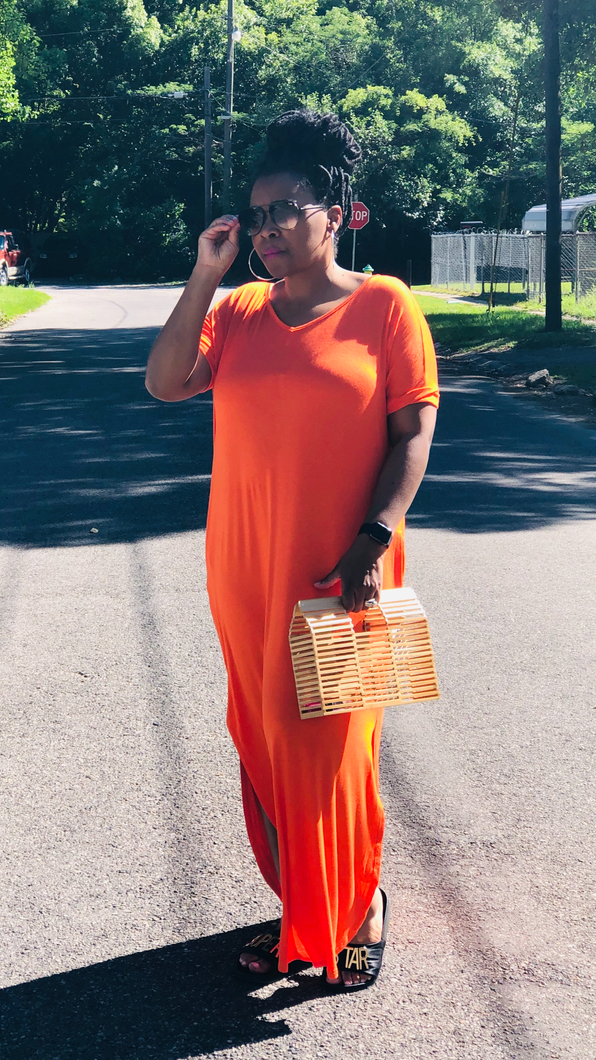 Tangerine  V-Neck Maxi Dress with Pockets