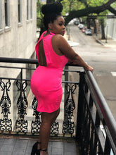 Neon Pink Open Back Dress
