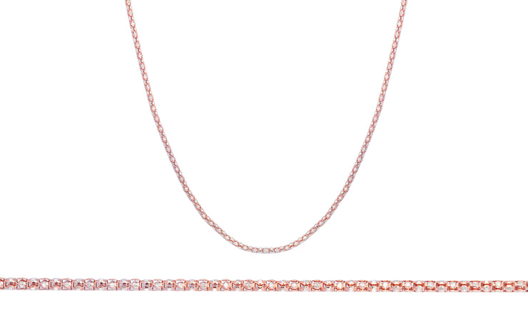 2mm 14K Rose Gold Plated Popcorn Chain in Sterling Silver