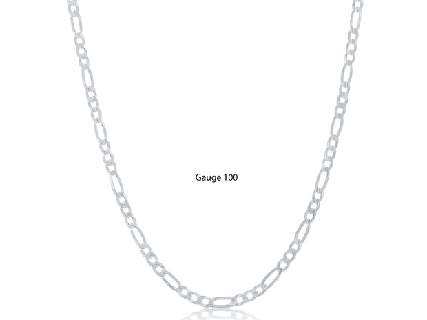 Unisex Puff Sterling Silver Figaro Chains