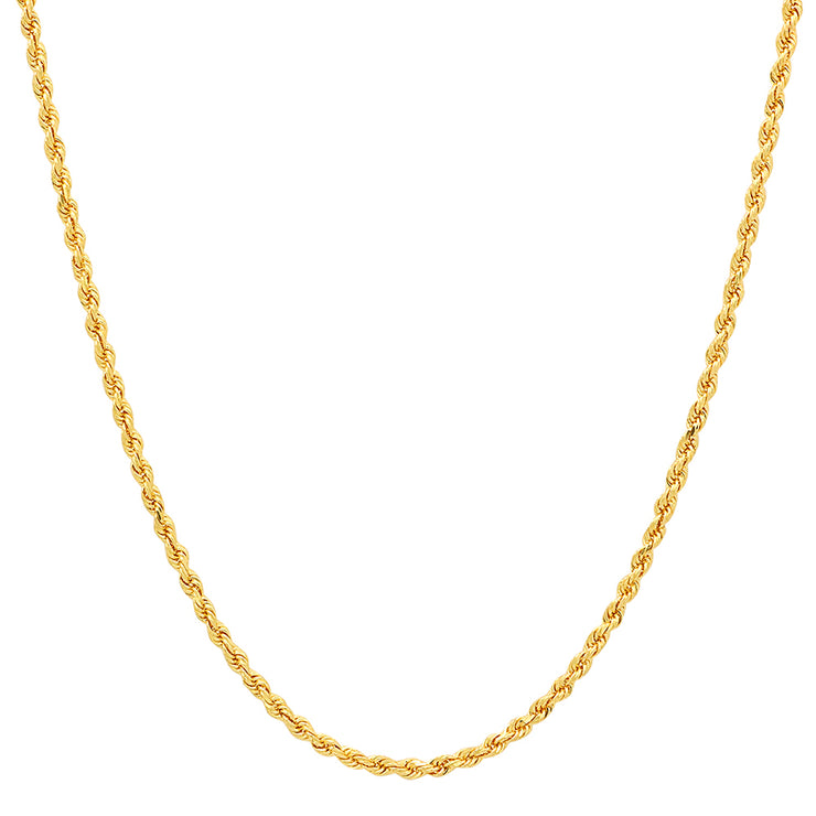 Sterling Silver Gold Plated 2mm Rope Chain Necklace