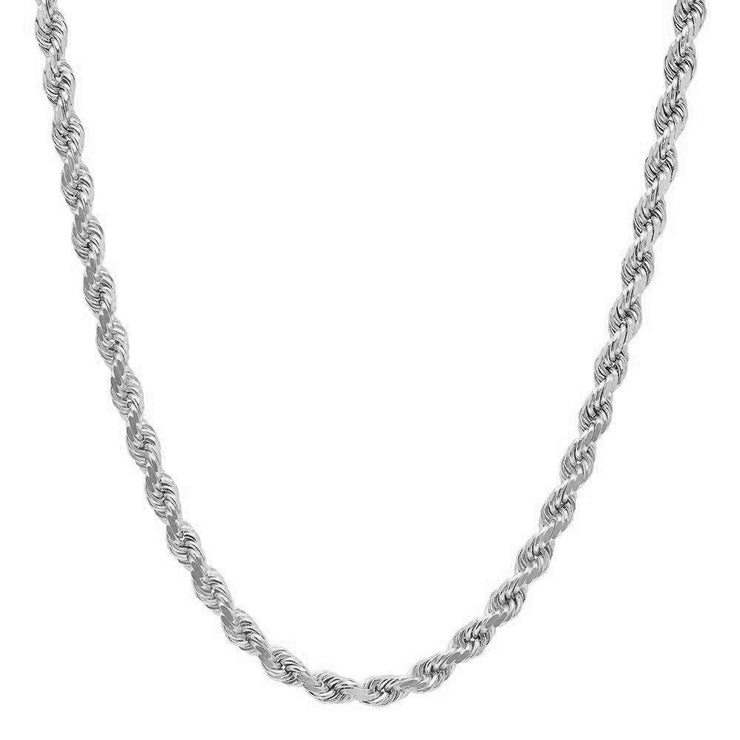 Unisex Sterling Silver 3.5MM Diamond-Cut Italian Rope Chain Necklace