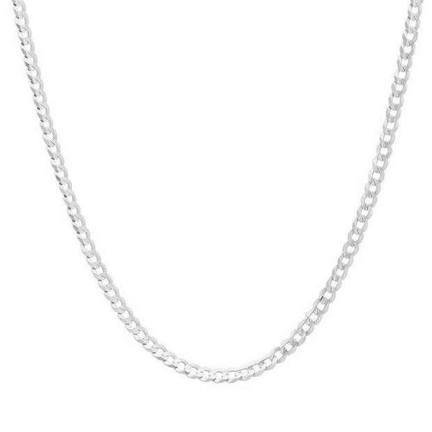 3MM Sterling Silver Flat Curb Link Necklace