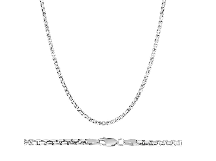 Sterling Silver Unisex Solid Italian 3MM Round Box Chain