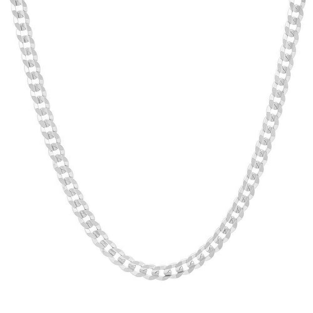 4MM Sterling Silver Flat Curb Link Necklace