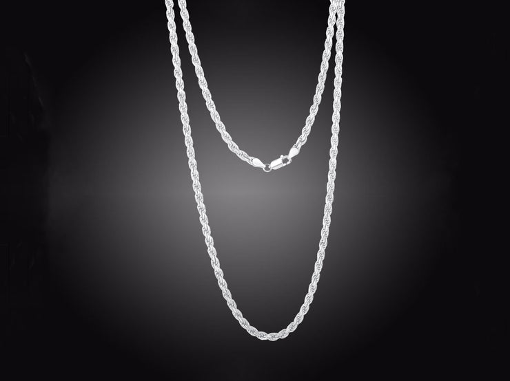 Unisex Sterling Silver Rhodium 3MM Rope Chain