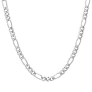 5MM Sterling Silver Flat Figaro Chain Necklace