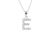 Crystal Initial Pendant Necklace In Sterling Silver