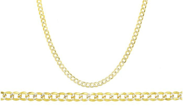 Italian Two Tone 5MM Pave Curb Chain in 14K Gold