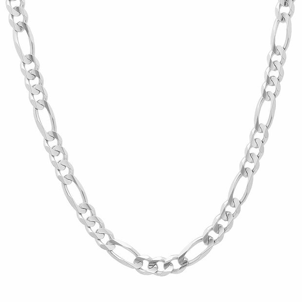 7MM Sterling Silver Flat Figaro Chain Necklace
