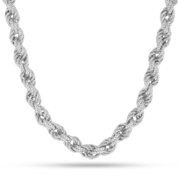 Sterling Silver 10mm Cubic Zirconia Rope Chain Necklace 30""