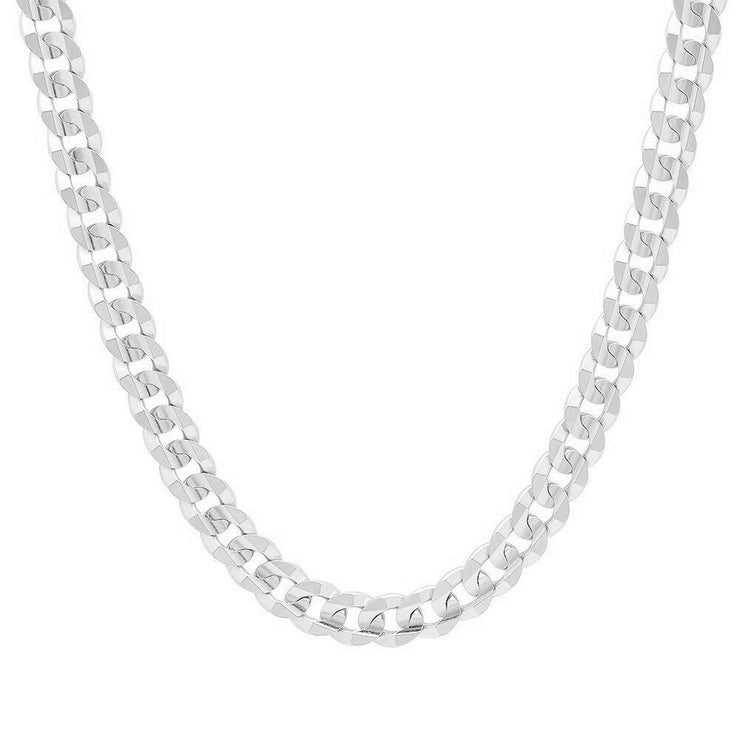 7MM Sterling Silver Flat Curb Link Necklace