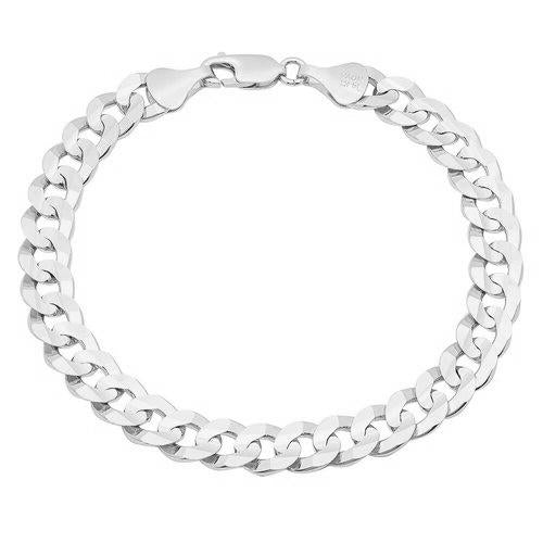 9MM Sterling Silver Flat Curb Link Necklace
