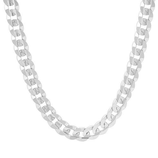 8MM Sterling Silver Flat Curb Link Necklace