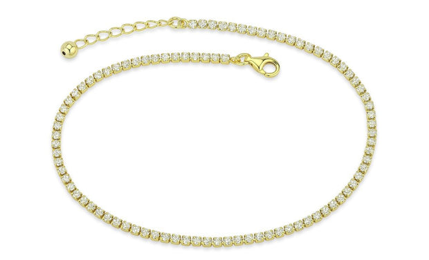 Crystal Prong Anklet in 18K White Gold