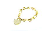 14K Gold Plated Initial Heart Bracelet