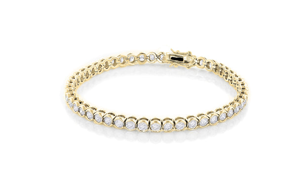 Women Spectacular 3mm Round Bezel Design Tennis Bracelet