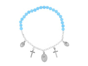 Beaded Stretch Cross Charm Bracelet