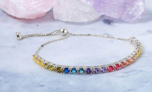 Adjustable Rainbow Tennis Bracelet in Sterling Silver
