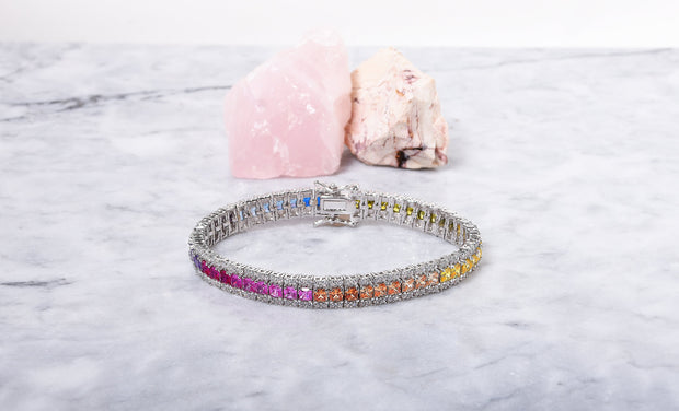 3 Row Prong Rainbow Tennis Bracelet