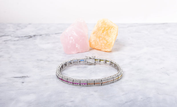 Channel Set Rainbow Tennis Bracelet