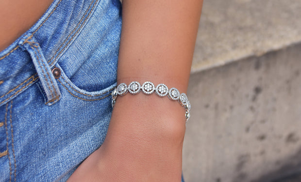 Crystal Flower Disc Tennis Bracelets