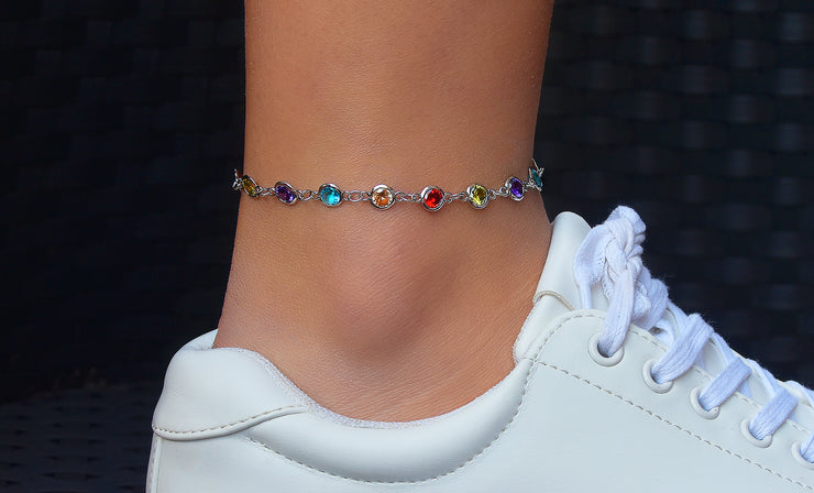 Crystal Rainbow Bezel Set Anklets
