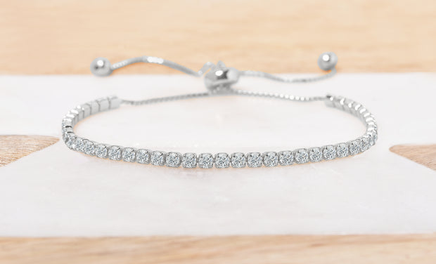 Adjustable Single Row Tennis Bracelet
