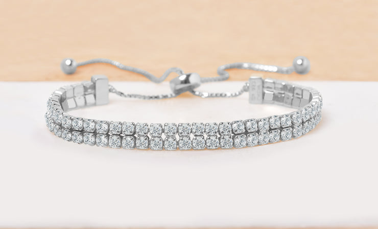 Adjustable Double Row Tennis Bracelet