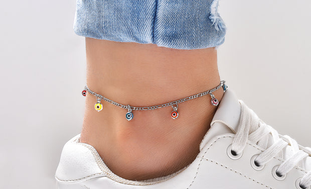 Solid Italian Figaro Evil Eye Drop Anklet in Sterling Silver