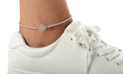 Crystal Prong Novelty Anklets in Sterling Silver