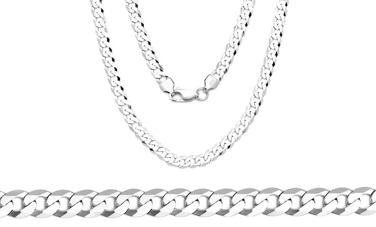 Solid Italian Curb Chains in Sterling Silver