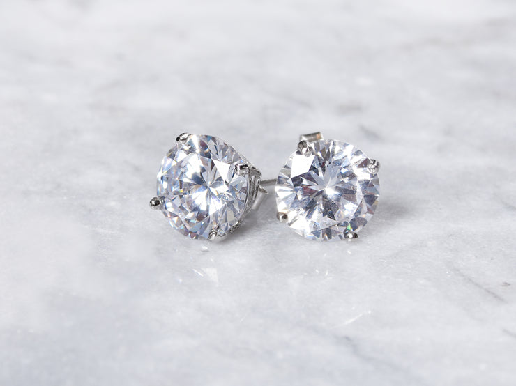 12 CTTW Sterling Silver Stud Earrings