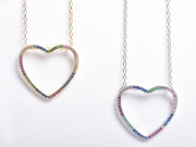 Thin Open Heart Rainbow Necklace
